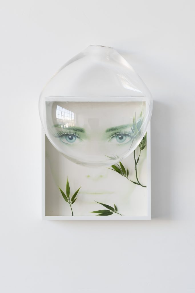 Untitled_Found poster, hand blown glass, fake bamboo, artist frame_31 x 50 x 20cm_2015_lowres