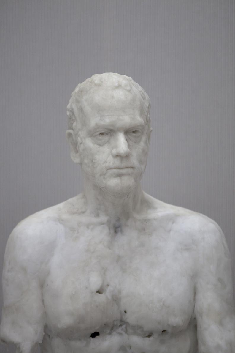 Virgile Ittah 'For man would remember each murmur' Detail 1, 2013, Mixed wax, marble powder, fabric, 1200 x 180 x 365 cm