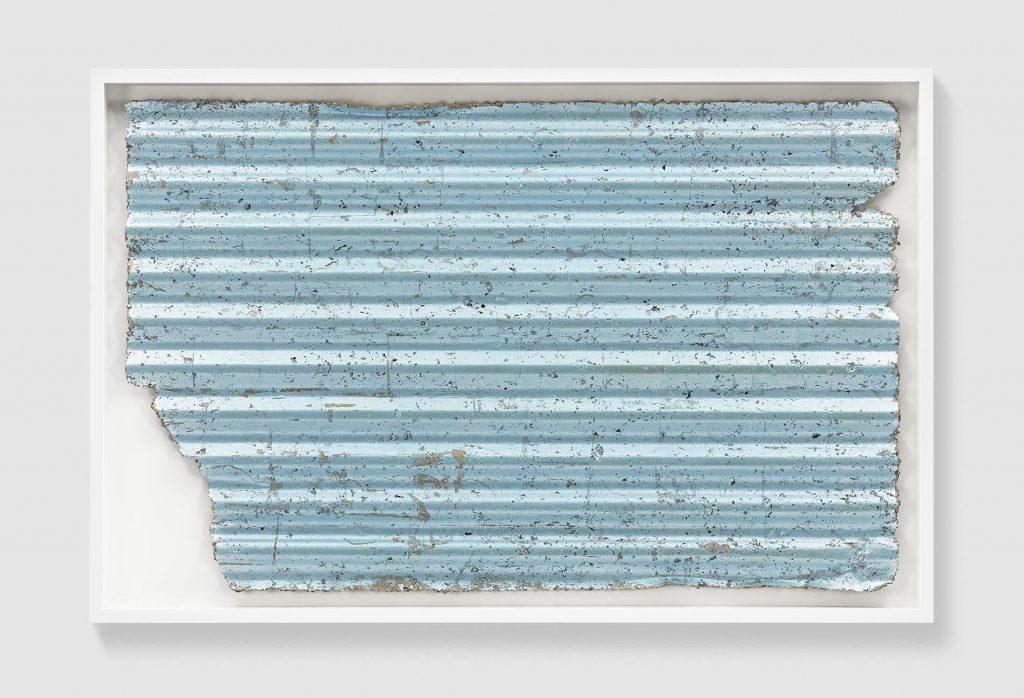 RACHEL WHITEREAD Untitled (Corrugated Blue), 2017 Coloured silver leaf and papier-mâché 31 7/8 x 50 3/8 x 2 in 81 x 128 x 5 cm © Rachel Whiteread Photo: Prudence Cuming Associates Courtesy Gagosian