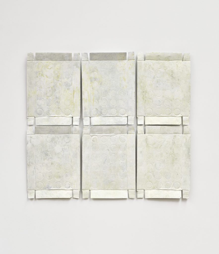 RACHEL WHITEREAD Untitled (Yellow Relief), 2020-2021 Hand-painted bronze, in 6 partsoverall: 39 3/4 x 44 11/16 x 1/16 in 101 x 113.5 x 0.2 cm each part: 19 3/4 x 14 9/16 x 1/16 in50.2 x 37 x 0.2 cm © Rachel Whiteread Photo: Prudence Cuming Associates Courtesy Gagosian