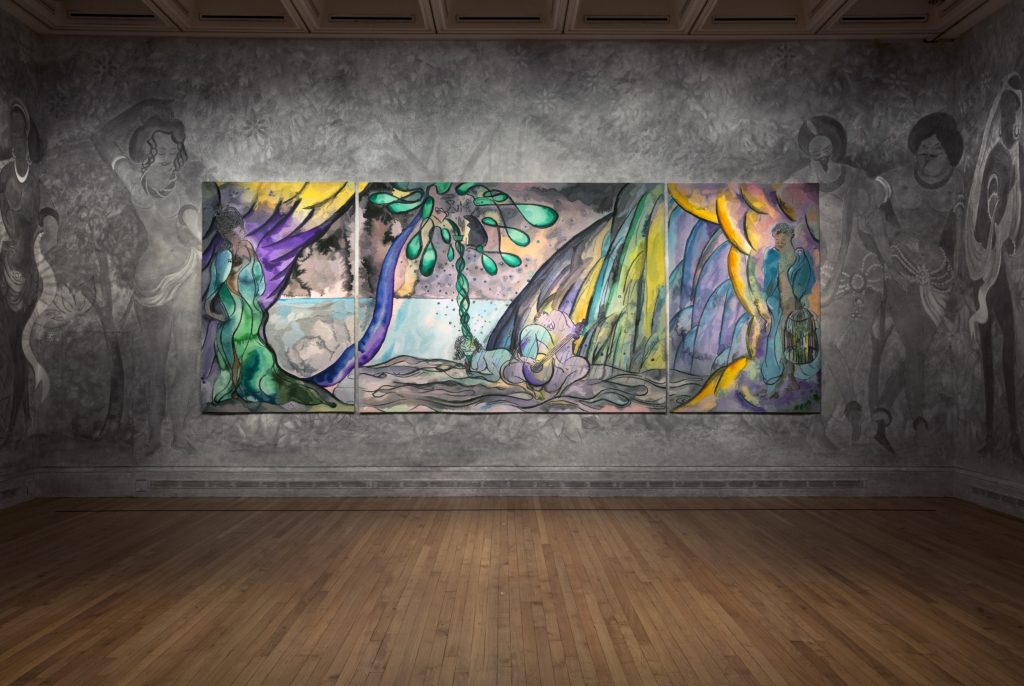 Chris Ofili The Caged Bird's Song, 2014–2017 Wool, cotton and viscose Triptych, left and right panels each 280 x 184 cm; centre panel 280 x 372 cm Installation view, Chris Ofili: Weaving Magic, National Gallery, 26 April – 28 August 2017 © Chris Ofili. Courtesy the artist and Victoria Miro, London, The Clothworkers' Company and Dovecot Tapestry Studio, Edinburgh. Photography: Gautier Deblonde