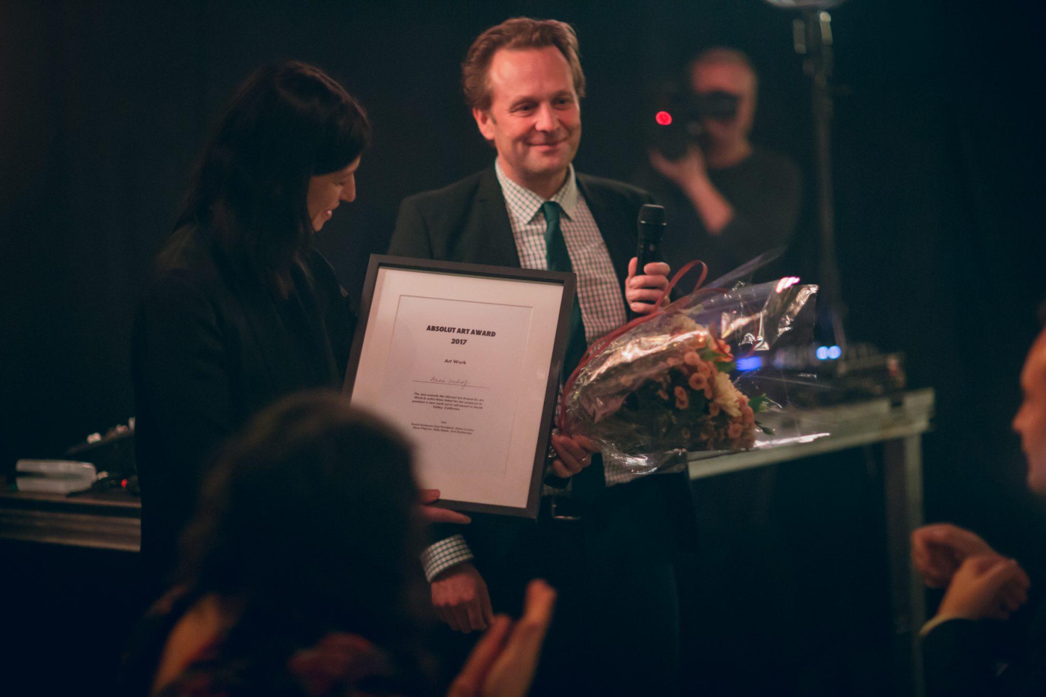 2017 Absolut Art Award Jury President, Daniel Birnbaum with Art Work winner Anne Imhof FAD Magazine