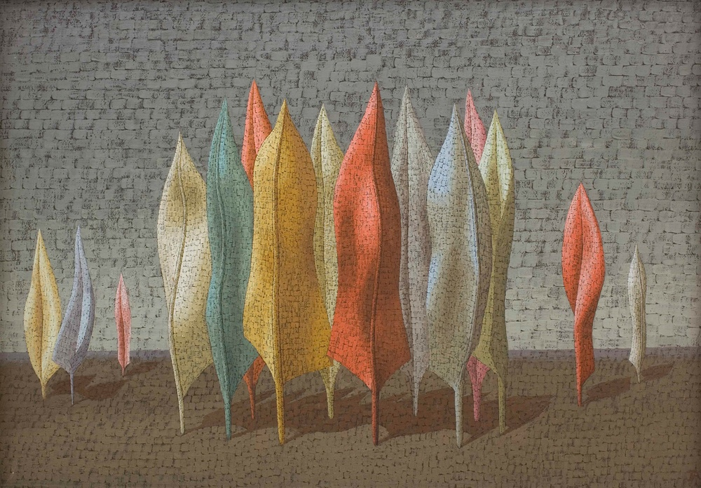 John Armstrong: Feathers Conclave, 1946 - tempera on board, 46 x 66 cm