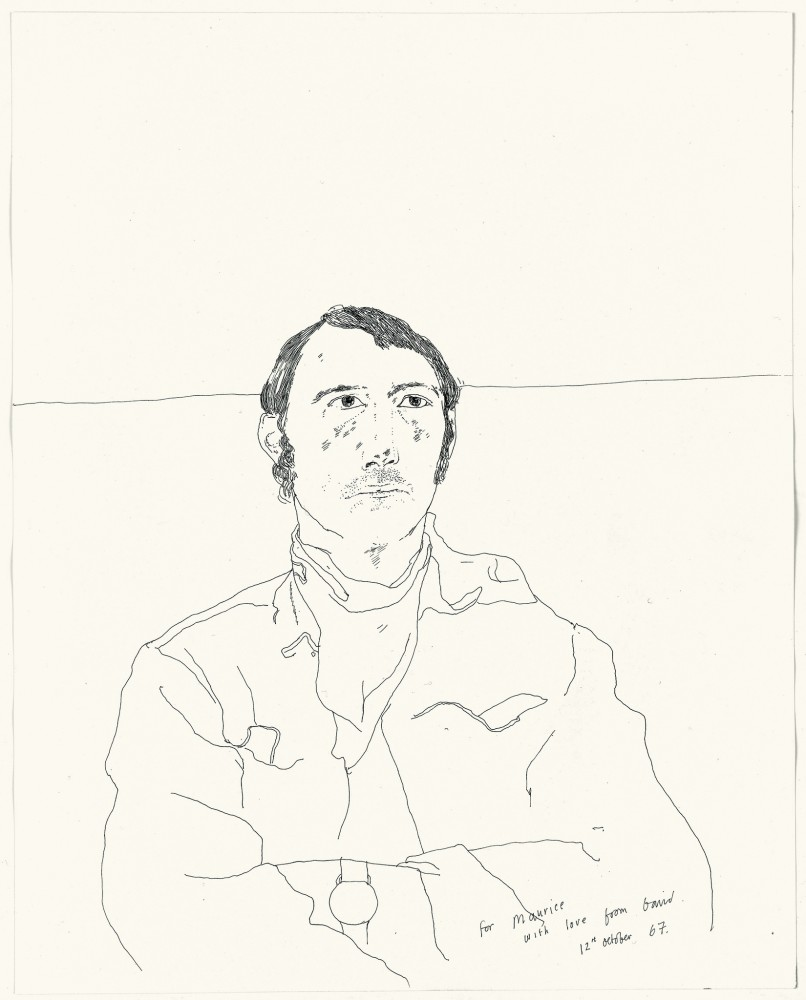 Maurice Payne, 1967 inscribed and dated For Maurice with love from David / 12th October 1967. ink on paper