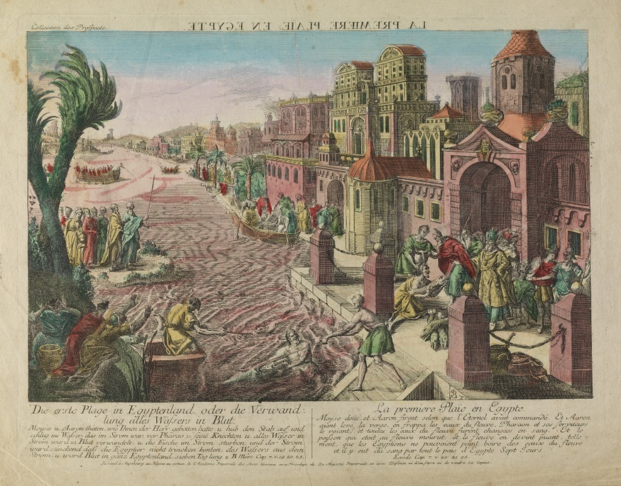 V0010560 The first plague in Egypt, rivers turned to blood. Credit: Wellcome Library, London. Wellcome Images images@wellcome.ac.uk http://wellcomeimages.org The first plague in Egypt, rivers turned to blood. Coloured etching. Lettering: Die erste Plage in Egyptenland, oder die Verwandlung alles Wassers in Blut. ... 2. Mose cap. 7.v.19, 20, 25. La premiere plaïe en Egypte. ... Exode cap. 7.v.20, 21, 25. The lettering above is in French and reversed. Lettering continues with paragraphs describing the particular plague. Coloured etching 1775/1779 Published: [1775/1779] Copyrighted work available under Creative Commons Attribution only licence CC BY 4.0 http://creativecommons.org/licenses/by/4.0/