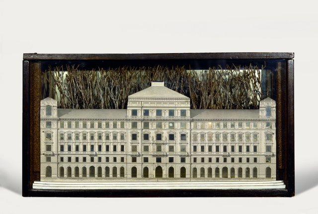 Joseph Cornell, Palace, 1943 Box construction: Glass-paned, stained wood box with photomechanical reproduction, mirror, spray-painted twigs, wood and shaved bark, 26.7 x 50.5 x 13 cm The Menil Collection, Houston  Photo The Menil Collection, Houston. Photography: Hickey-Robertson (c) The Joseph and Robert Cornell Memorial Foundation/VAGA, NY/DACS, London 2015  Exhibition organised by the Royal Academy of Arts, London, and Kunsthistorisches Museum, Vienna Press use is considered to be moderate use of images to report a current event or to illustrate a review or criticism of the work, as defined by the Copyright, Designs and Patents Act 1988 Chapter 48 Section 30 Subsections (1) - (3). Reproductions which comply with the above do not need to be licensed. Reproductions for all non-press uses or for press uses where the above criteria do not apply (e.g. covers and feature articles) must be licensed before publication. Further information can be obtained at www.dacs.org.uk or  by contacting DACS licensing on +44 207 336 8811. Due to UK copyright law only applying to UK publications, any articles or press uses which are published outside of the UK and include reproductions of these images will need to have sought authorisation with the relevant copyright society of that country. Please also ensure that all works that are provided are shown in full, with no overprinting or manipulation.