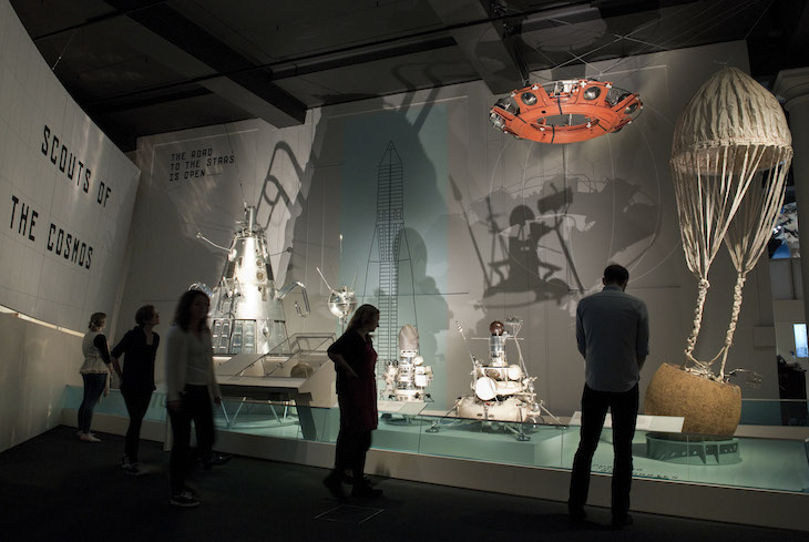 "Gallery view of ""Cosmonauts: Birth of the Space Age"" exhibition."