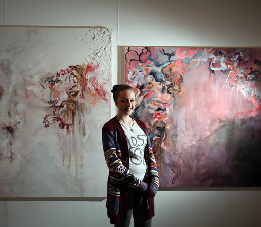 Artist Eve Laws with her work at Northumbria University. Pic Paul Norris