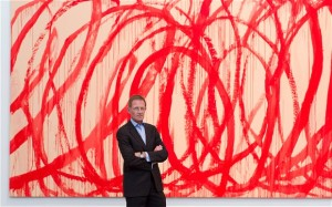 Sir Nicholas Serota in front of one of Twombly's Bacchus paintings. Photp: Justin Tallis/PA