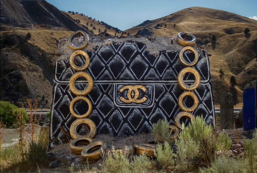 Thrashbird turns desert concrete ruins into oversized fashion luxury handbags FAD MAGAZINE
