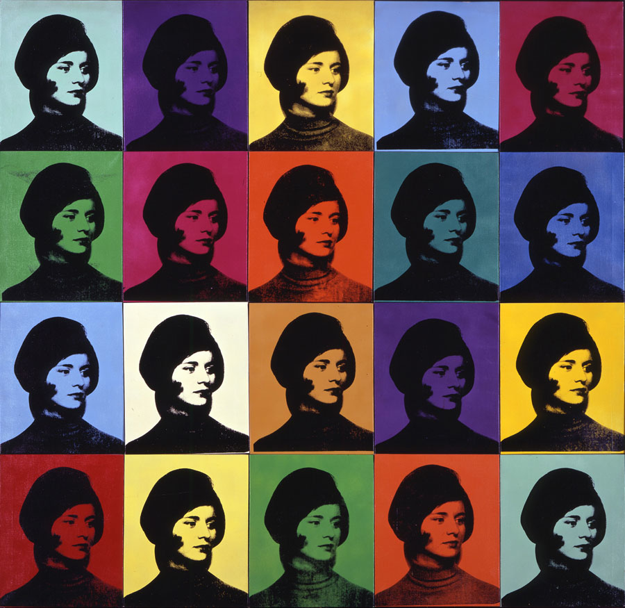 ANDY WARHOL Miriam Davidson, 1965 Synthetic polymer, spray enamel, and silkscreen inks on canvas 80 1/4 × 80 1/2 inches (203.8 × 204.5 cm) Private collection © 2015 The Andy Warhol Foundation for the Visual Arts, Inc. / Artists Rights Society (ARS), New Yor