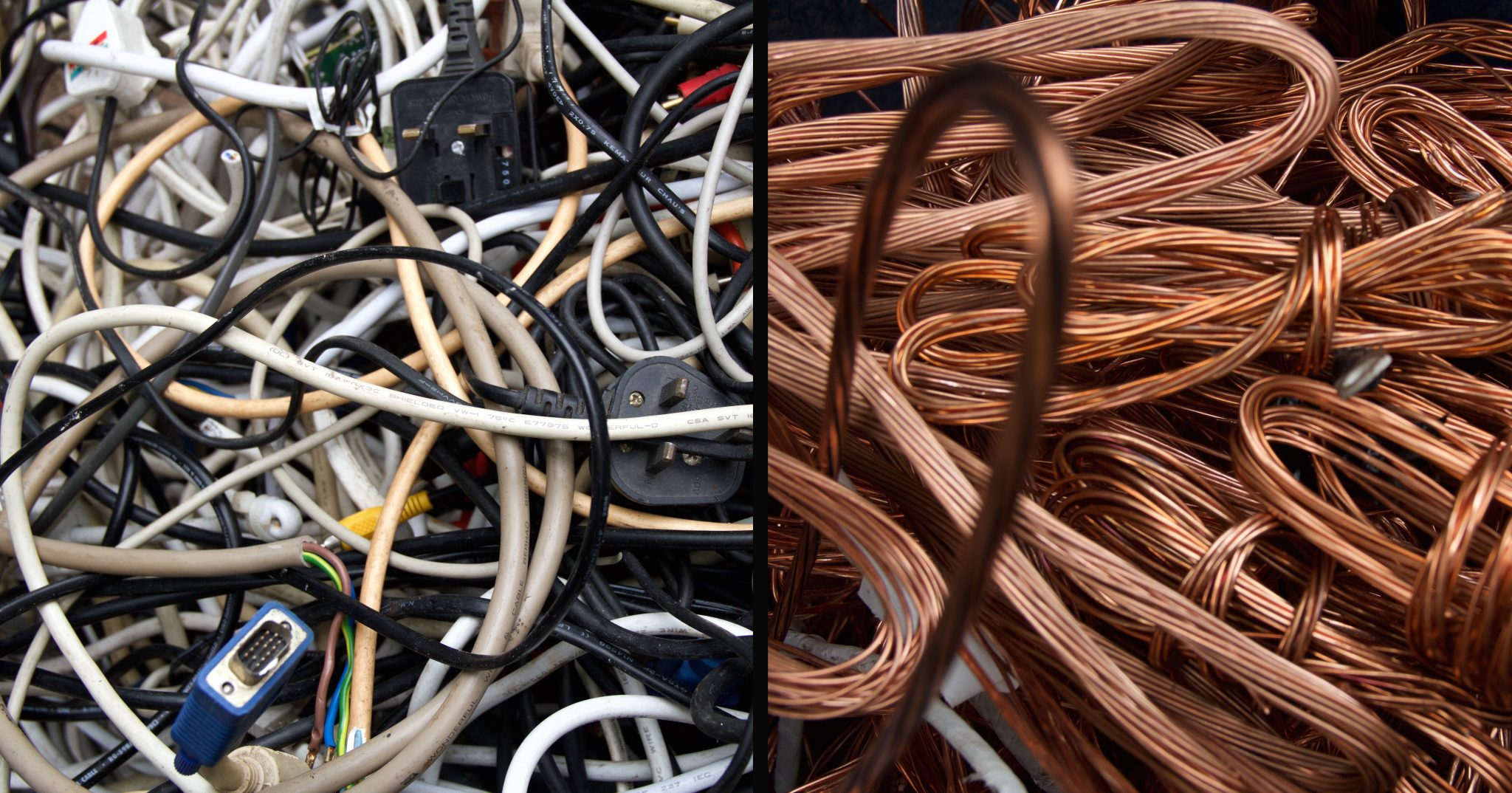 diptych of wires in Sham Shui Po, Hong Kong. Wires are stripped of their insulation to get to the metals that are then sold on for money. FAD Magazine