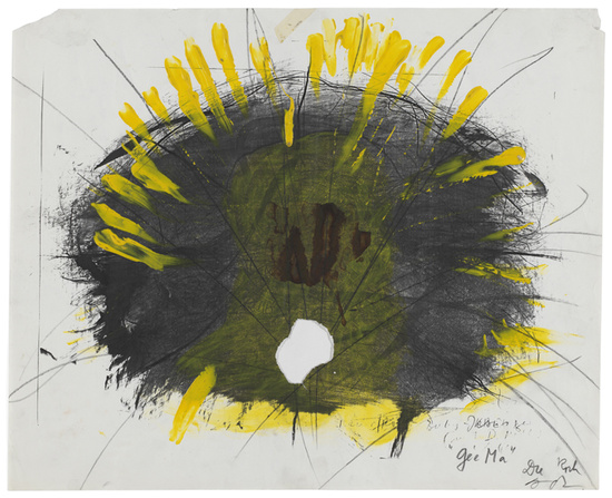 Ge' e M' a, 1981—1983 Crayon, acrylic, watercolour and plastic tape on reproduction 46.8 x 57.4 cm / 18 3/8 x 22 5/8 in