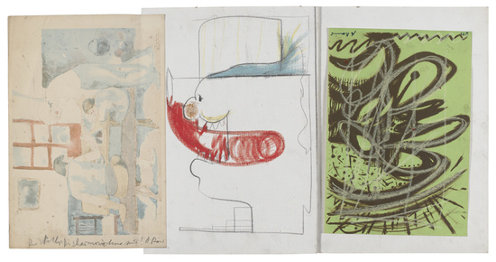 Terzett Passau (Misch- u. Trennkunst) (Passau Trio), 1975 Watercolour on watercolour paper; crayon and pencil on cardboard; crayon over silk screen on cardboard 51 x 95.7 cm / 20 1/8 x 37 5/8 in