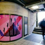 Sinta Tantra.'Dyionisian Utopia'. 2006. Picadilly Tube Station, London. Commissioned by Transport for london. Printed vinyl. Image courtesy the artist.