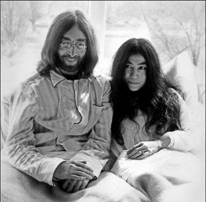 Republish this article Republish Republish our articles for free, online or in print, under Creative Commons licence. John Lennon and Yoko Ono at the Hilton Hotel, Amsterdam, in 1969. EPA-EFE