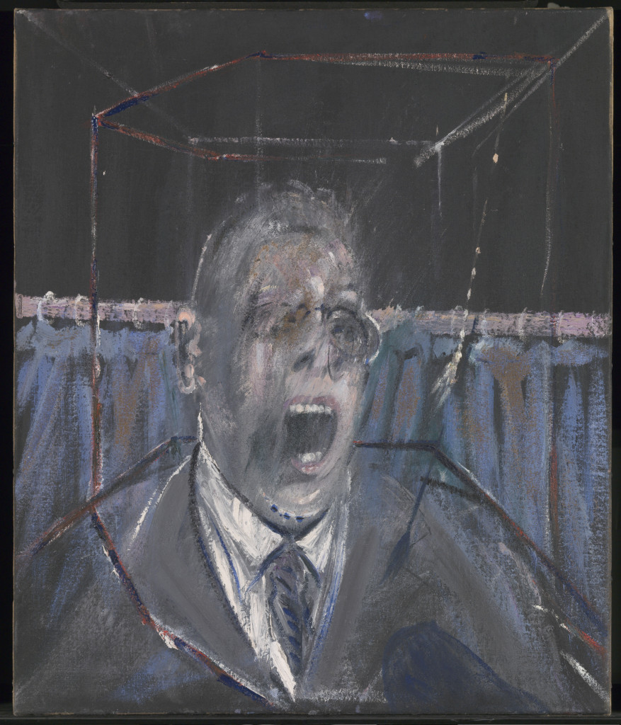 Francis Bacon, 1909-1992  Study for a Portrait 1952  Oil paint and sand on canvas  661 x 561 x 18 mm