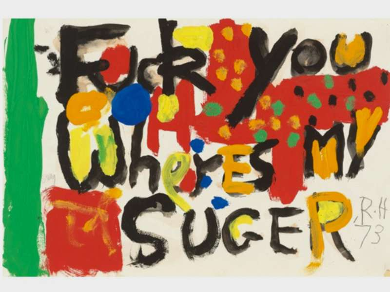 Title and image Roger Hilton's night letters, 1973