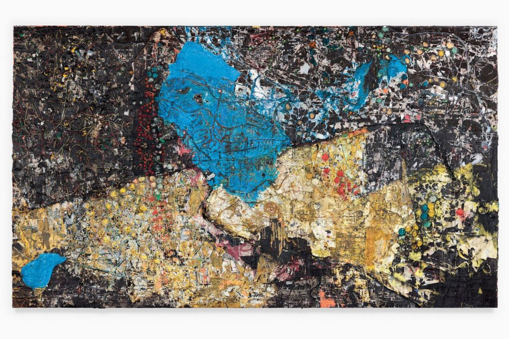 Mark Bradford Sapphire Blue 2018 Mixed media on canvas 339.1 x 584.2 cm / 133 1/2 x 230 in © Mark Bradford Courtesy the artist and Hauser & Wirth Photo: Joshua White FAD magazine