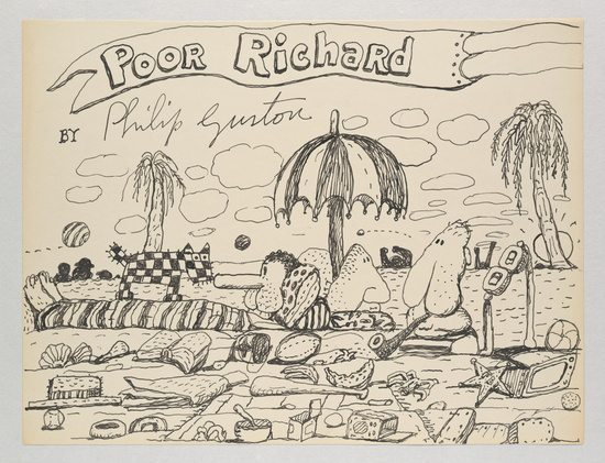 Untitled (Poor Richard) — Philip Guston, 1971 Ink on paper 26.7 x 35.2 cm / 10 1/2 x 13 7/8 inches © The Estate of Philip Guston Courtesy the Estate and Hauser & Wirth Photo: Genevieve Hanson