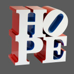 HOPE, (White/Blue/Red) by Robert Indiana. Courtesy the artist and ContiniArtUK