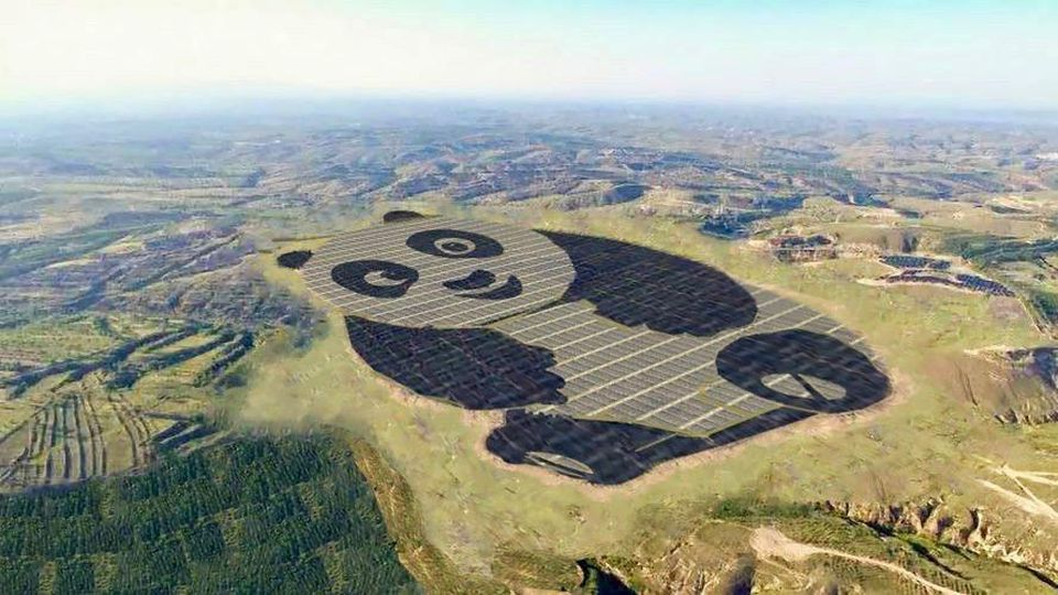 China energy company builds giant 250-acre panda shaped solar farm