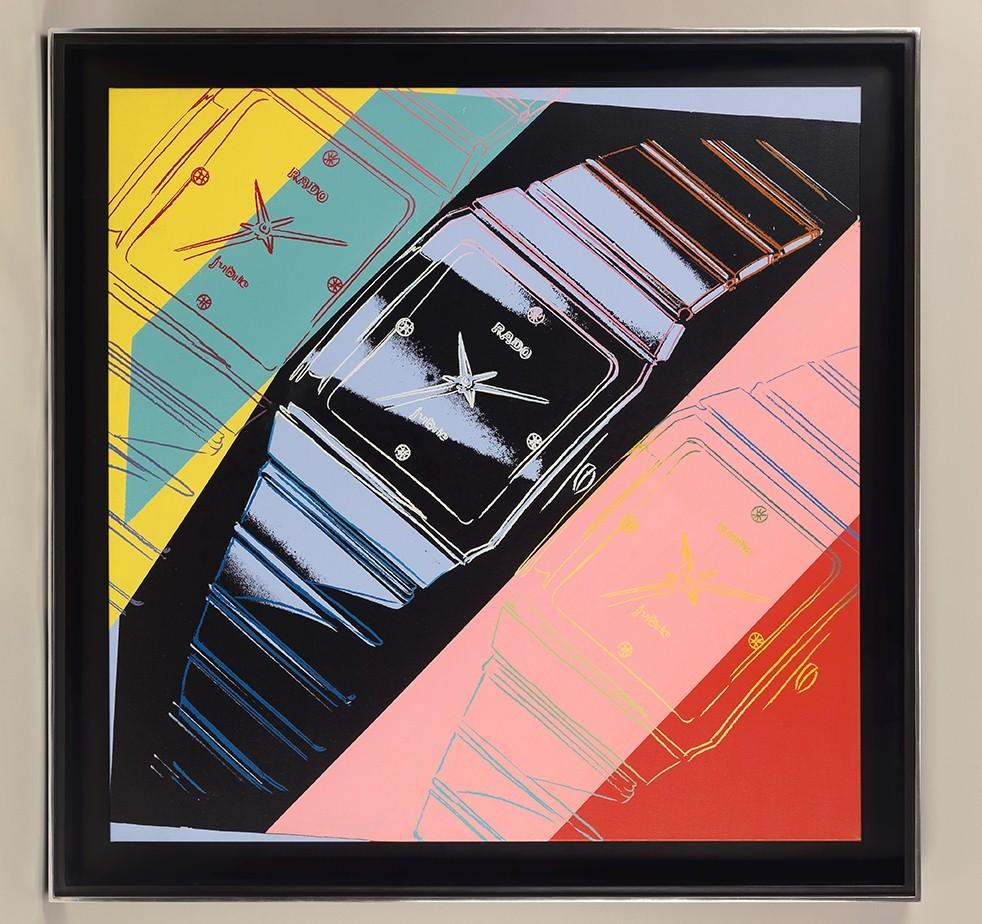 129 x 129 cm framed oil on canvas of Rado watch Warhol