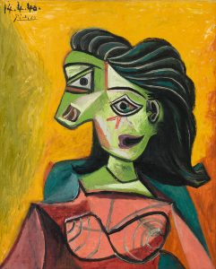PABLO PICASSO Buste de femme (Dora Maar), 1940 Oil on canvas, 29 1/8 x 23 5/8 in, 74 x 60 cm © 2019 Estate of Pablo Picasso/Artist Rights Society (ARS), New York Photo: Erich Koyama. Courtesy Gagosian