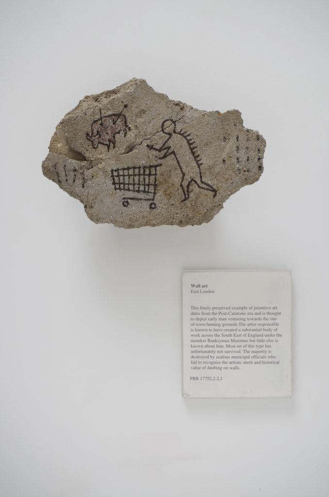 Banksy  (born  1974),  Peckham  Rock,  UK,  2005.  This object was secretly placed in a gallery at the  British Museum by the artist in 2005 and was undiscovered for three days.  © Banksy courtesy of  Pest  Control  Office.  FAD MAGAZINE