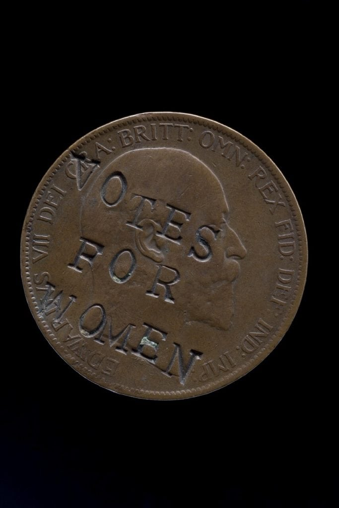 "Edward  VII  penny,  1903,  defaced  with  the  slogan  ""Votes  for  Women"".  ©  The  Trustees  of  the  British  Museum"
