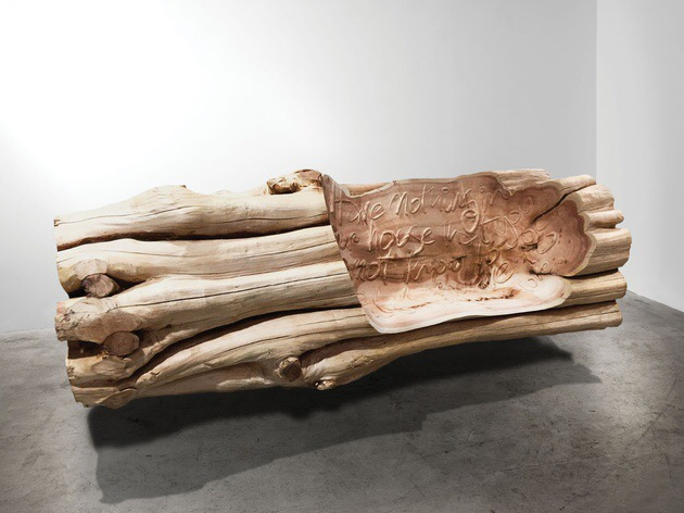 ron arad Useful, Beautiful, Love., 2016 Cedar 116 x 330 x 140 cm; (45 5/8 x 129 7/8 x 55 1/8 in.)
