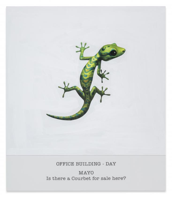 JOHN BALDESSARI OFFICE BUILDING - DAY MAYO IS THERE A COURBET FOR SALE HERE?, 2017 VARNISHED INKJET PRINT ON CANVAS WITH ACRYLIC PAINT
