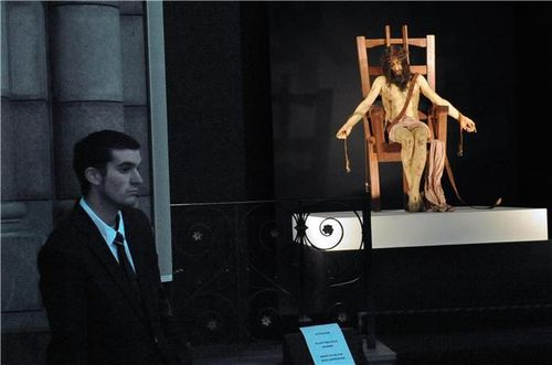 modern electric chair. photo: the sculpture \u201cpieta\u201d by paul fryer recently on display at cathedrale de gap in france. credit: afp / jean-pierre clatot modern electric chair