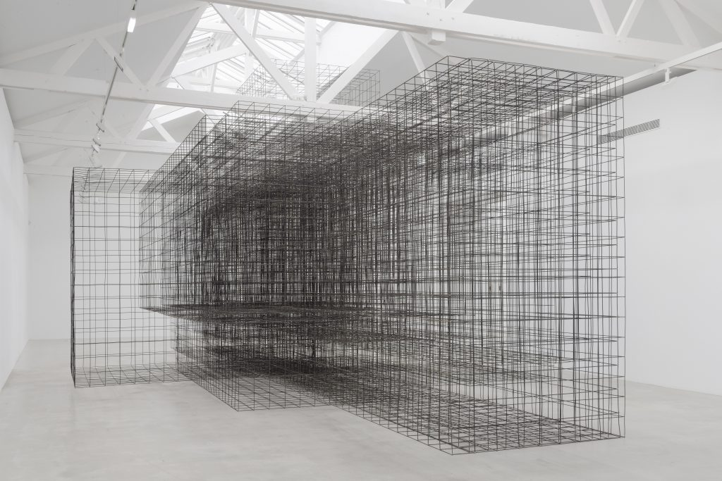 Matrix II, 2014. 6 mm mild steel reinforcing mesh, 550 x 750 x 1500 cm. Installation view, Galerie Thaddaeus Ropac, Pantin, France © the Artist. Photo: Charles Duprat,