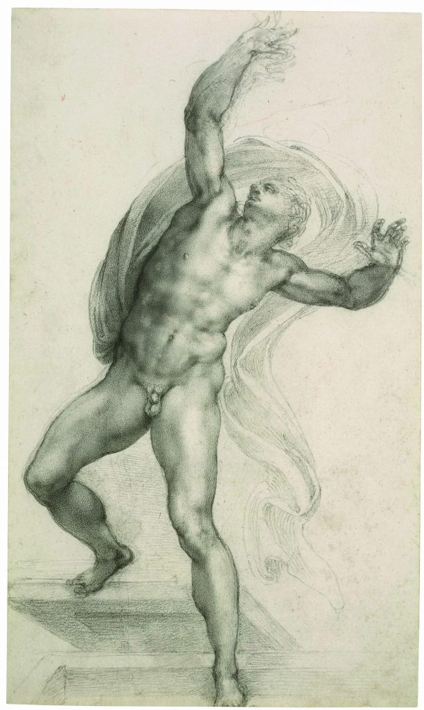 Michelangelo Buonarroti, The Risen Christ, c. 1532-3 Black chalk on paper, 37.2 x 22.1 cm Royal Collection Trust / © Her Majesty Queen Elizabeth II 2019