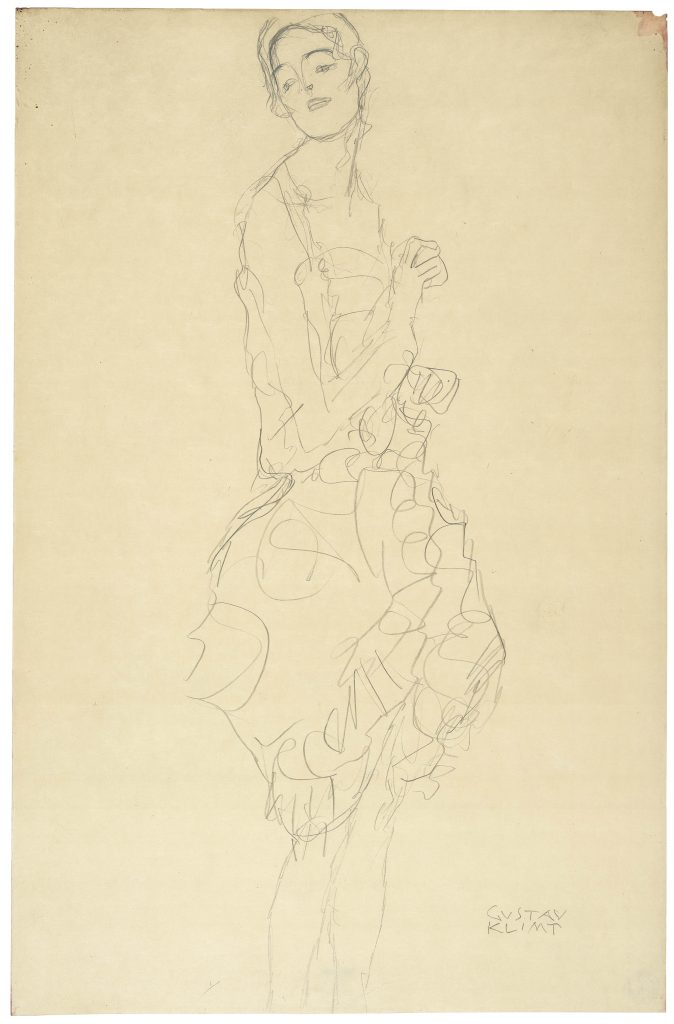 Gustav Klimt, Study for 'The Dancer' ('Ria Munk II'), 1916-17  Pencil on paper, 49.6 x 32.4 cm  The Albertina Museum, Vienna  Exhibition organised by the Royal Academy of Arts, London and the Albertina Museum, Vienna