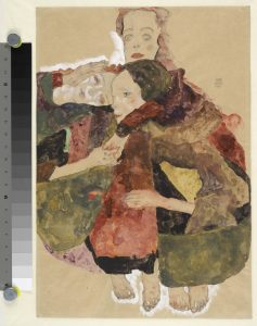 Egon Schiele Group of Three Girls, 1911 Graphite, watercolour, white and coloured gouaches on brown packing paper, 44.7 x 30.8 cm The Albertina Museum, Vienna Exhibition organised by the Royal Academy of Arts, London and the Albertina Museum, Vienna