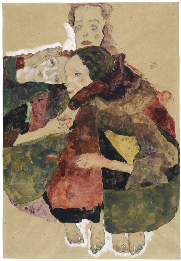 Egon Schiele, Group of Three Girls, 1911 Pencil, watercolour and gouache with white gouache heightening on packing paper, 44.7 x 30.8 cm The Albertina Museum, Vienna Exhibition organised by the Royal Academy of Arts, London and the Albertina Museum, Vienna