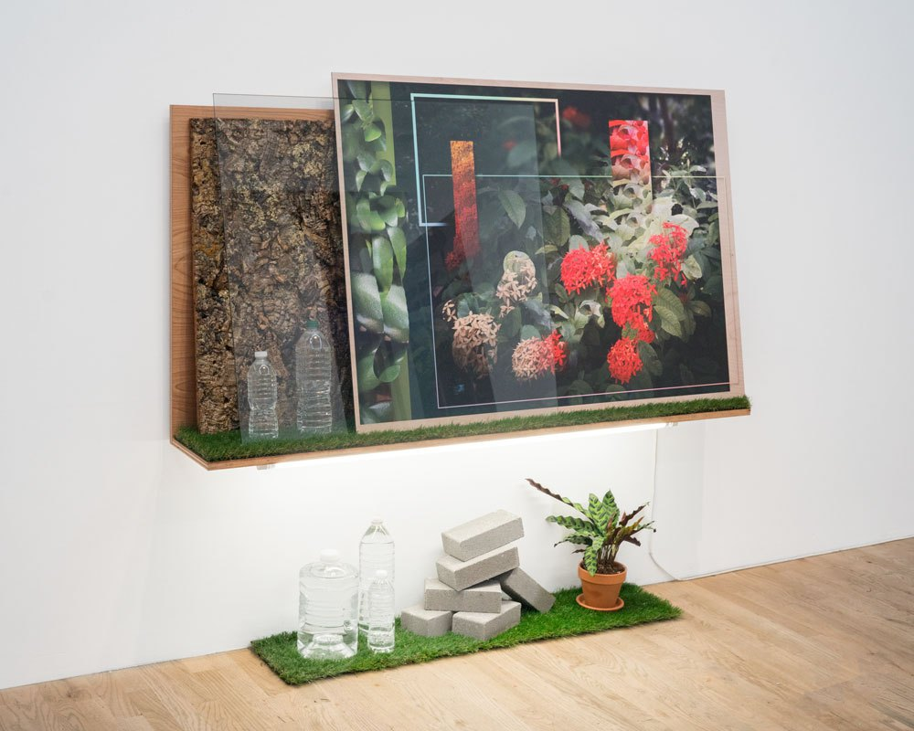 MARK DORF Landscape 12 2017 Transposition 60 x 30 x 9 in. UV print on Dibond, birch plywood, tempered glass, house plant, fake grass, bark, resin, fluorescent light, bottled water Courtesy of the artist