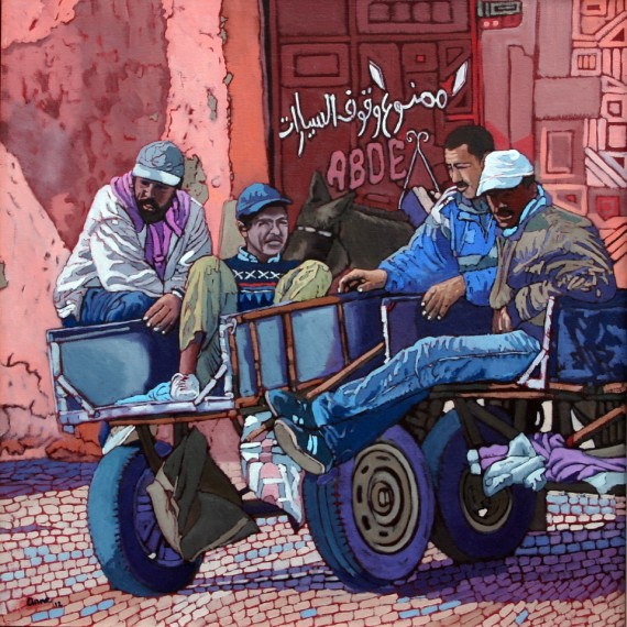 Men Resting in Marrakesh by Anne Blankson-Hemans. Courtesy the artist and AFRIKart