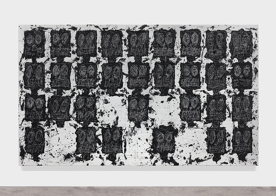 Rashid Johnson Untitled Anxious Audience, 2016 White ceramic tile, black soap, wax 239.4 x 402.6 x 6.4 cm / 94 1/4 x 158 1/2 x 2 1/2 in