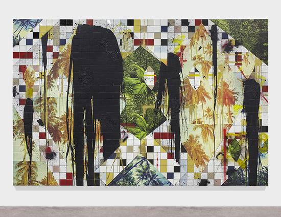 Untitled Escape Collage, 2016 White ceramic tile, black soap, wax, vinyl, spray enamel 241.3 x 360.7 x 6.4 cm / 95 x 142 x 2 1/2 in