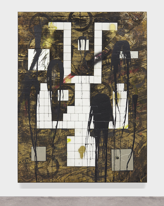 Rashid Johnson Falling Man, 2015 Burned red oak flooring, white ceramic tile, spray enamel, mirror, black soap, wax 245.1 x 184.2 x 6.4 cm / 96 1/2 x 72 1/2 x 2 1/2 in