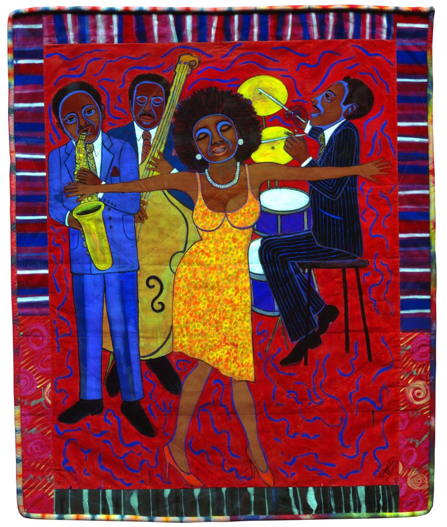 Faith Ringgold, Jazz Stories: Mama Can Sing, Papa Can Blow #1: Somebody Stole My Broken Heart, 2004, Acrylic on canvas with pieced fabric border, © 2018 Faith Ringgold / Artists Rights Society (ARS), New York, Courtesy ACA Galleries, New York
