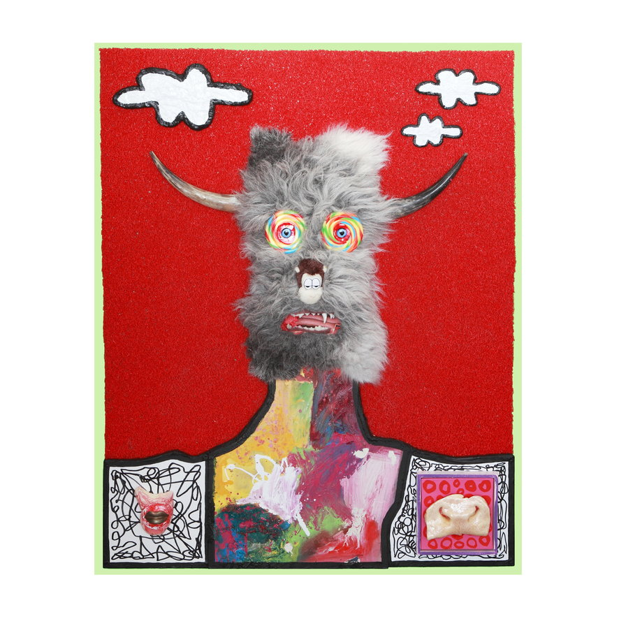 James Ostrer_Clouded Thoughts_Cow horns, sheep skin, bronze lips, deep fried cow nose, plastic jaw set, stuffed toy head, glass eyes, floor matting from Turkey, enamel paint, spray paint, marker, canvas and wood_150 x 120 x 15 cm.JPG