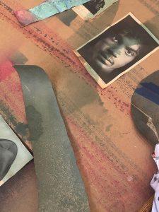 Eric N Mack Studio floor, 2020. A magazine tear receiving dye (image of Prince by Robert Mapplethorpe, Interview Magazine, 1972)