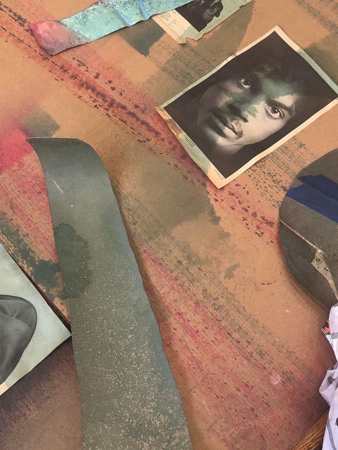 Eric N Mack Studio floor, 2020. A magazine tear receiving dye (image of Prince by Robert Mapplethorpe, Interview Magazine, 1972)
