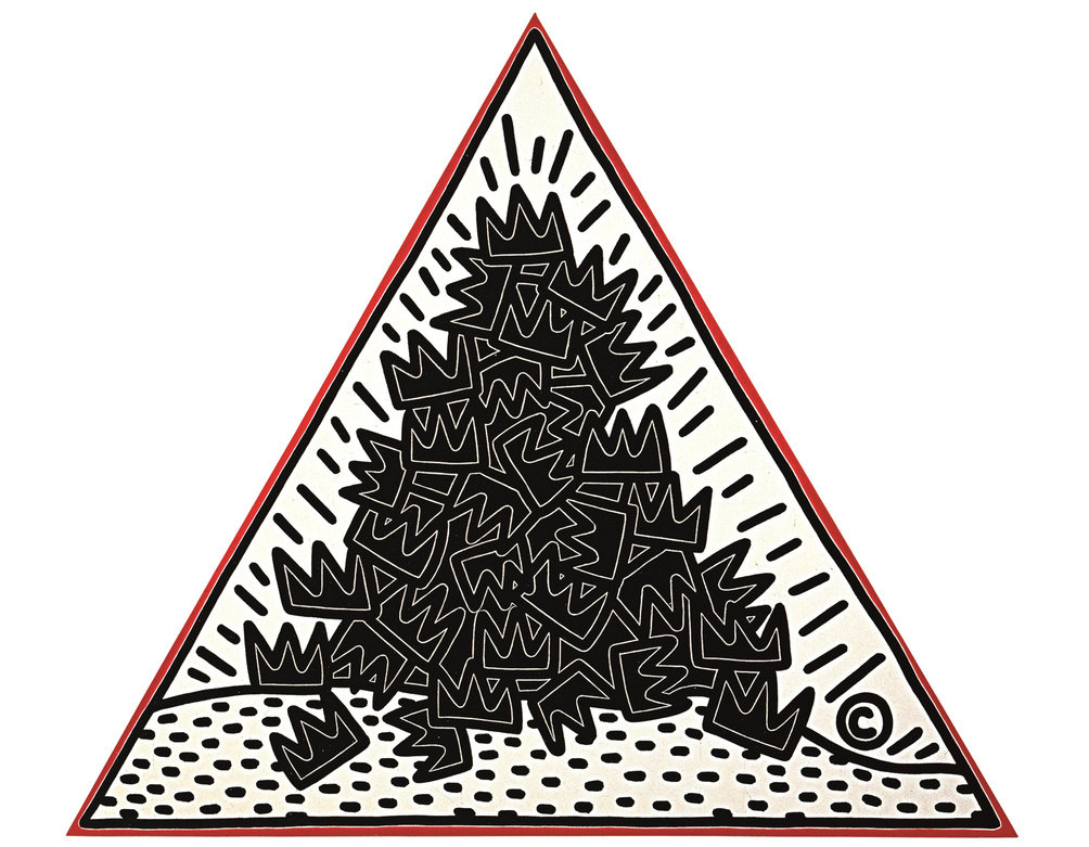 Keith Haring, A Pile of Crowns for Jean-Michel Basquiat, 1988.  A