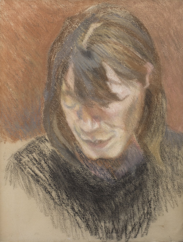 Lucian Freud, Head of a Woman c-1980-pastel-on-paper-laid-down-on-canvas-608-x-47-cm-piano-nobile