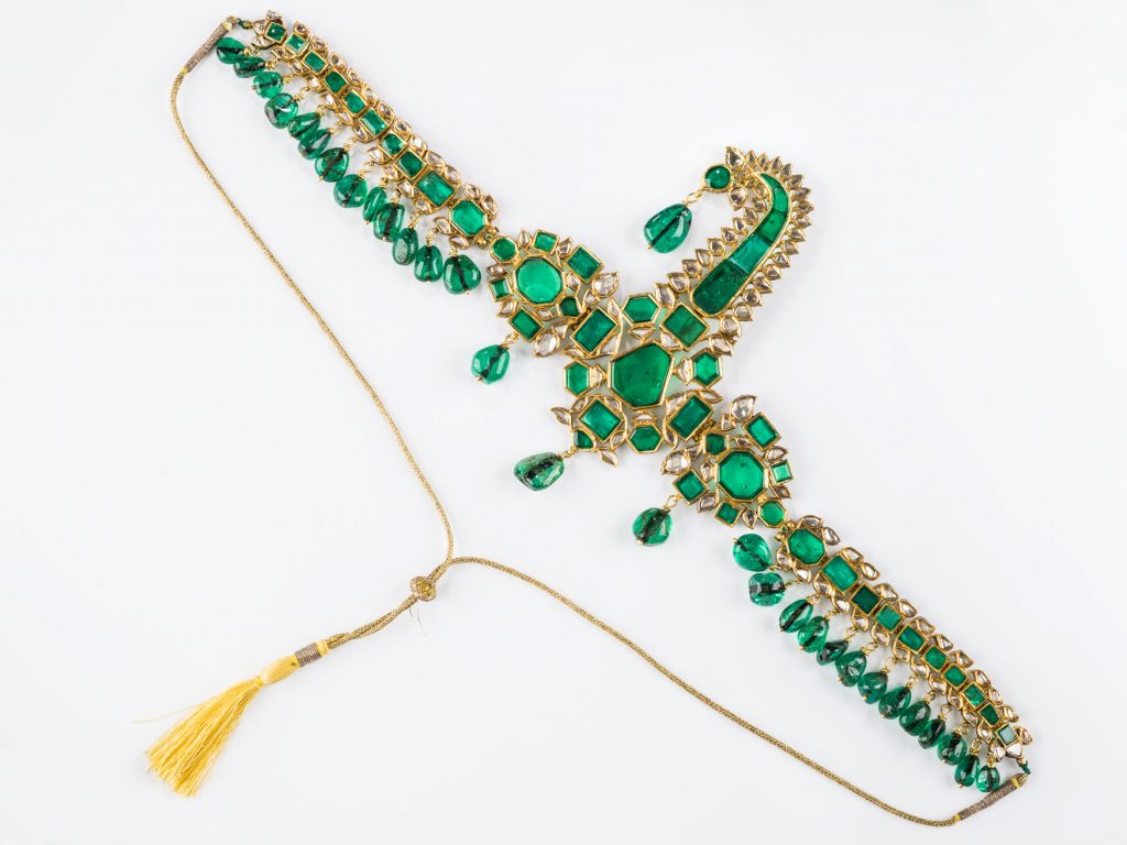 Turban Ornament Ca. 1733 to 1767 CE Gold, Enamel, Emerald, Diamond, Metal Thread 365 mm (W) Museum of Islamic Art Collection Courtesy of Qatar Museums